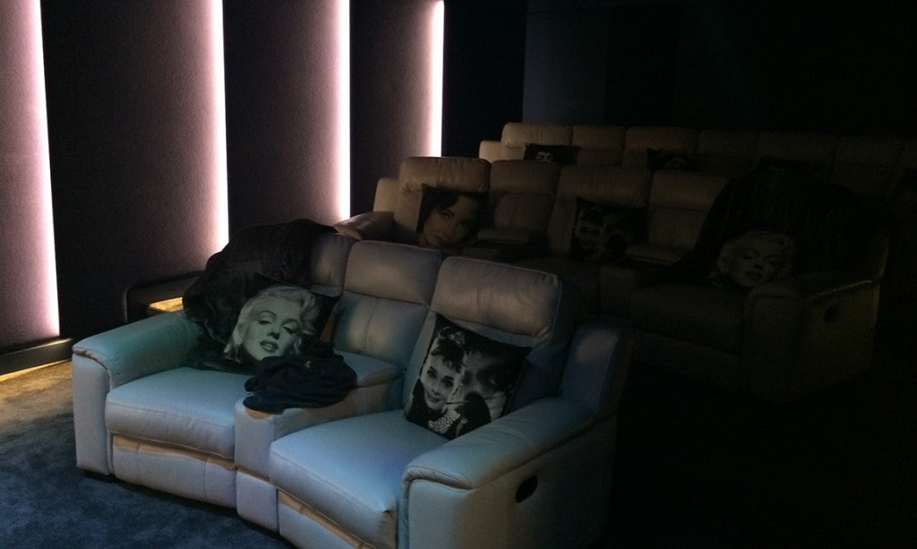 cinema room with atmospheric lighting and smart home control