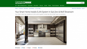 Your Smart Home Feature in Commercial Integrator Europe for Sub Zero & Wolf Show Room